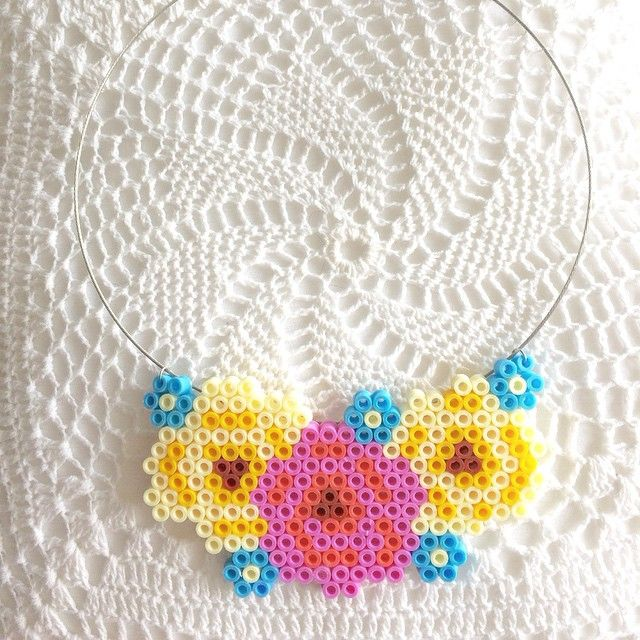 Rose flowers necklace hama beads by basia73