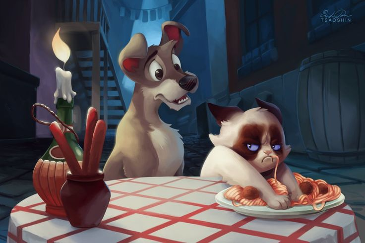 Grumpy Cat. Lady and the tramp. Disney