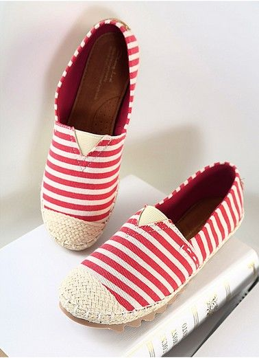 shoes - http://zzkko.com/n170204-013-fall-new-Korean-striped-shoes-casual-canvas-shoes-shallow-mouth-flat-shoes-woven-slip-tide.html $11.67