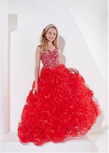 Unique Organza Sweetheart Neckline Floor-length Ball Gown Girls'Ocassion Dress