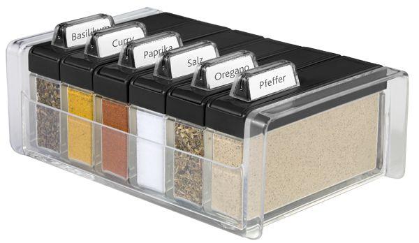 SPICE BOX - pojemnik na przyprawy, czarny - 6 przypraw GRATIS! EMSA - DECO Salon #reddotaward #kitchenaccessories #spicebox #herbs