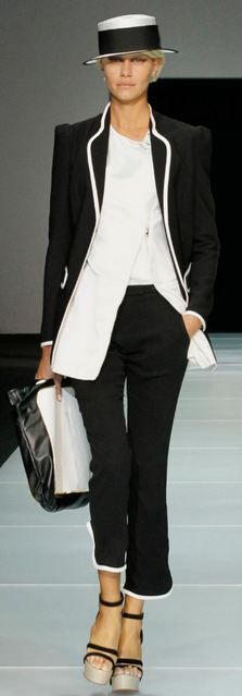 Armani S/S 2013 black pantsuit trimmed in white piping