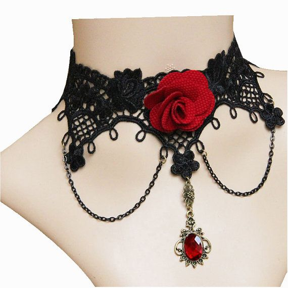 Gothic Retro Handcraft Black Lace Gemstone Pendant Red Flower Evening Party Charm Choker Necklace Clavicle Necklace Halloween Decorations via Etsy