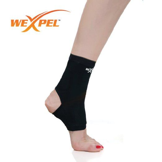 Wexpel (TM) Copper Infused Ankle Compression Sleeve - Relieve and Heal Stiff, Strained, Sore and Aching Joints in Your Foot - Small