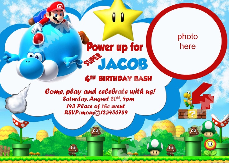 28 best Birthday Party Invitations images – Mario Party Invites