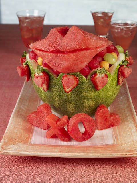 Watermelon Carving: Lips and Love Basket....For Valentines Day