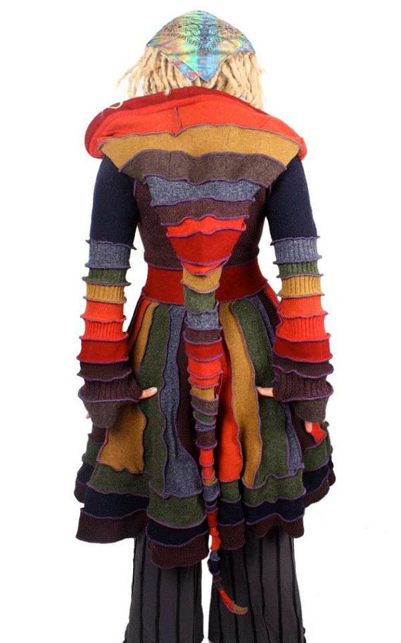 Recycled Sweater Jumper Psychedelic Patchwork CIrcus by katwise
