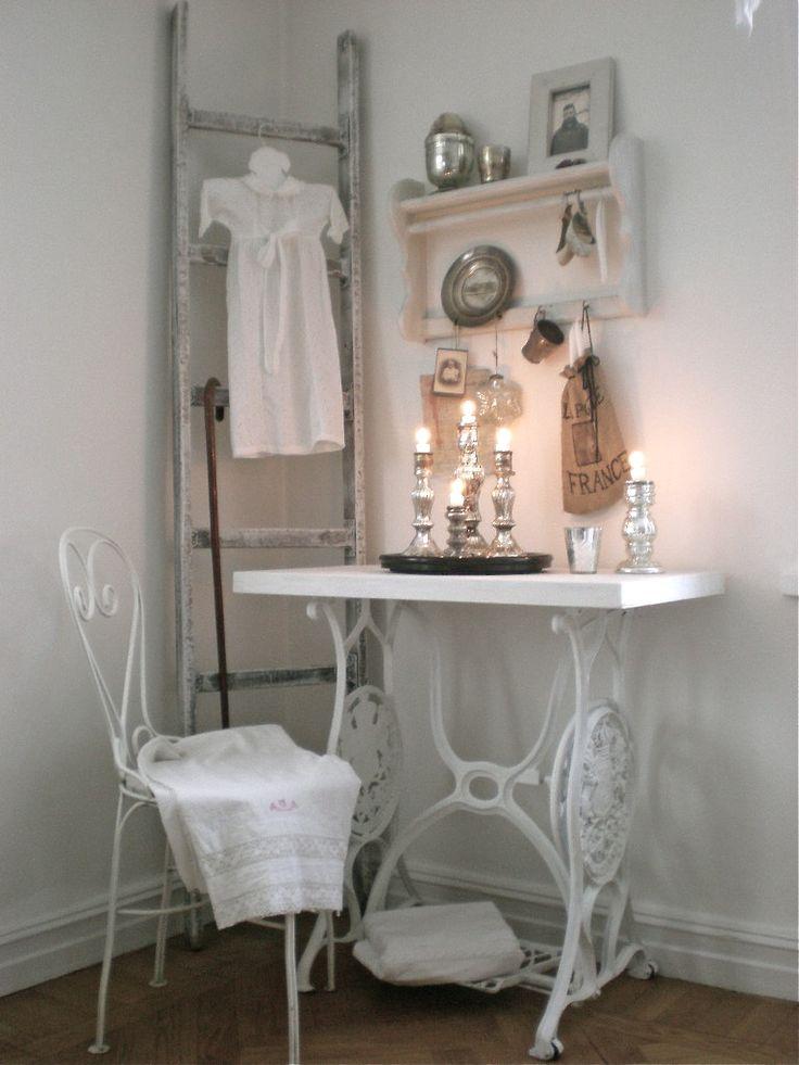 Old Sewing Mashine Ladder Whitewashed Chippy Shabby Chic French Country Rustic Swedish decor idea