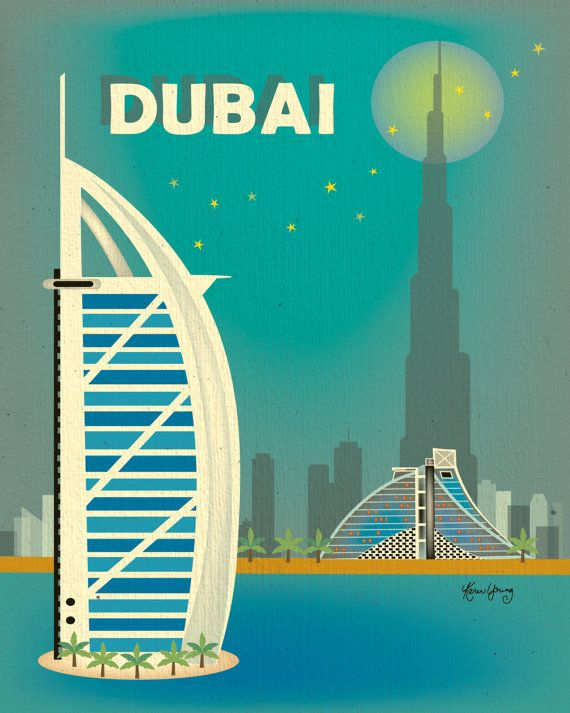 Vertical Poster Dubai Skyline Original by loosepetals on Etsy