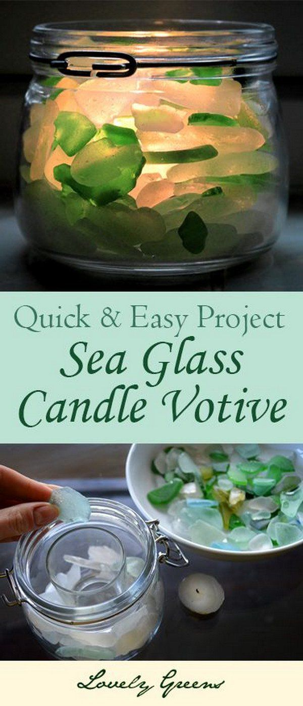 {NOTE} DIY Seaglass Candle Votive