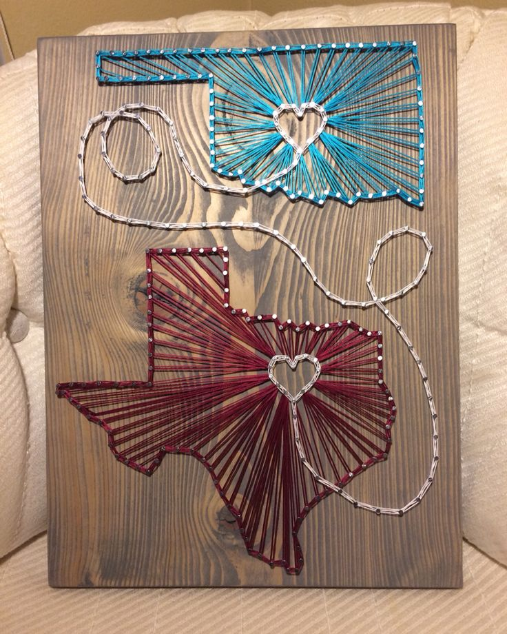 State String Art, Oklahoma and Texas- Order from KiwiStrings on Etsy! ( www.KiwiStrings.etsy.com )