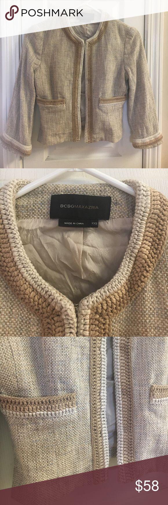 BCBGMAXAZRIA 100% silk lined jacket BCBGMAXAZRIA Jacket, Womens size XXS 100% silk lined tan jacket BCBGMaxAzria Jackets & Coats Blazers
