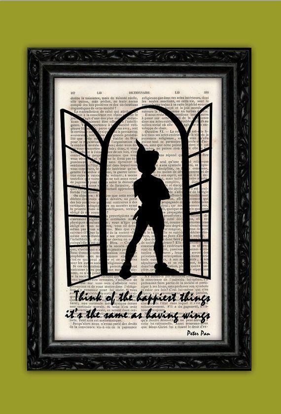 Peter Pan Silhouette Happiest Things Art Print - Disney Poster Book Art Nursery Dorm Room Print Gift Wall Decor Poster Dictionary Print
