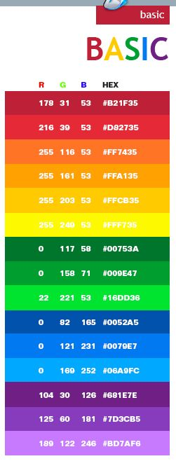 Top  Best Rgb Color Codes Ideas On   Colour Hex Codes