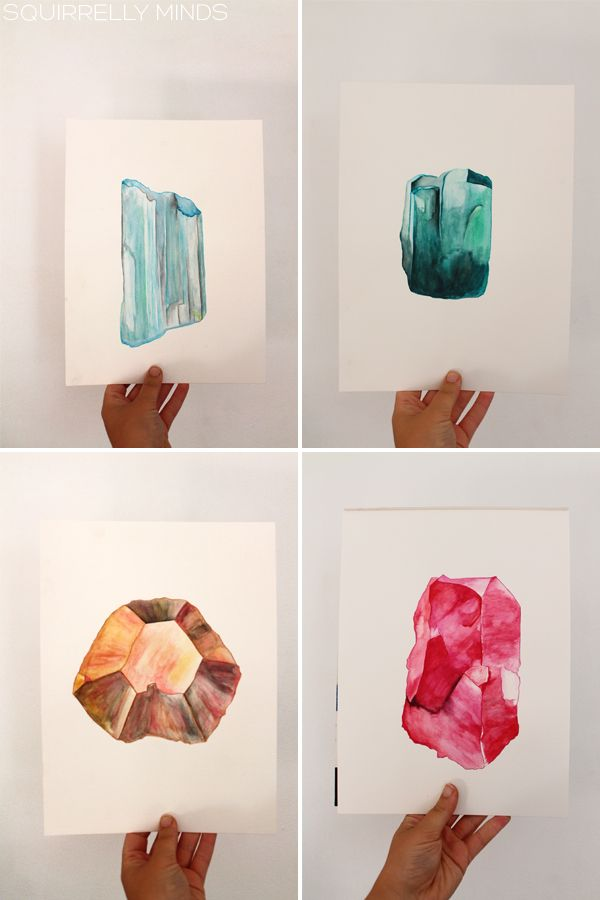 watercolor gemstones | Squirrelly Minds