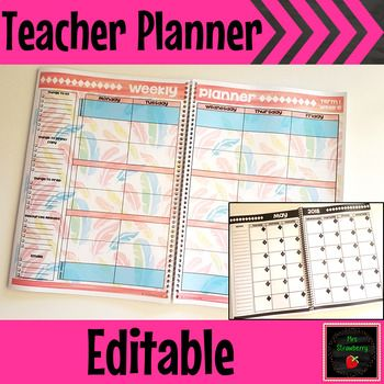 This editable, printable teacher planner will keep you organised all year long. Keep all your lessons and important information in one place with this handy teacher diary. Put it in a binder for easy access every day. This teacher planner will be updated every year. You get free yearly updates EVERY year forever. It includes parent contact and communication logs, merit certificates, monthly calendars, term overviews, and much more! It's perfect for elementary, middle, and high school faculty.