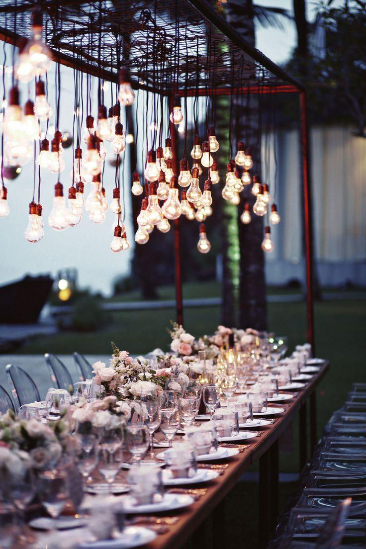 Hanging lightbulbs | Andrew and Bora's Stunning Rustic Nuptials at Khayangan Estate Uluwatu, Bali