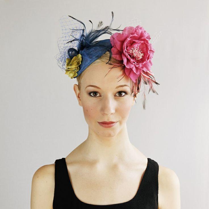 av Annina SS 2014 fascinator, pink & blue flowers & feathers www.avannina.fi #avannina #fascinator