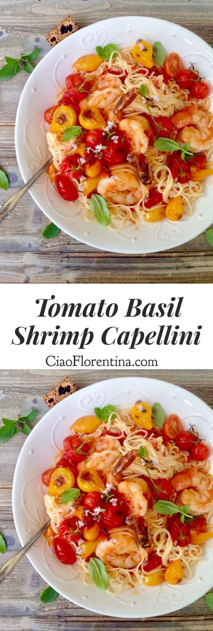 Fresh Tomato Basil Sauce with Garlic Shrimp Capellini Pasta   CiaoFlorentina.com @CiaoFlorentina