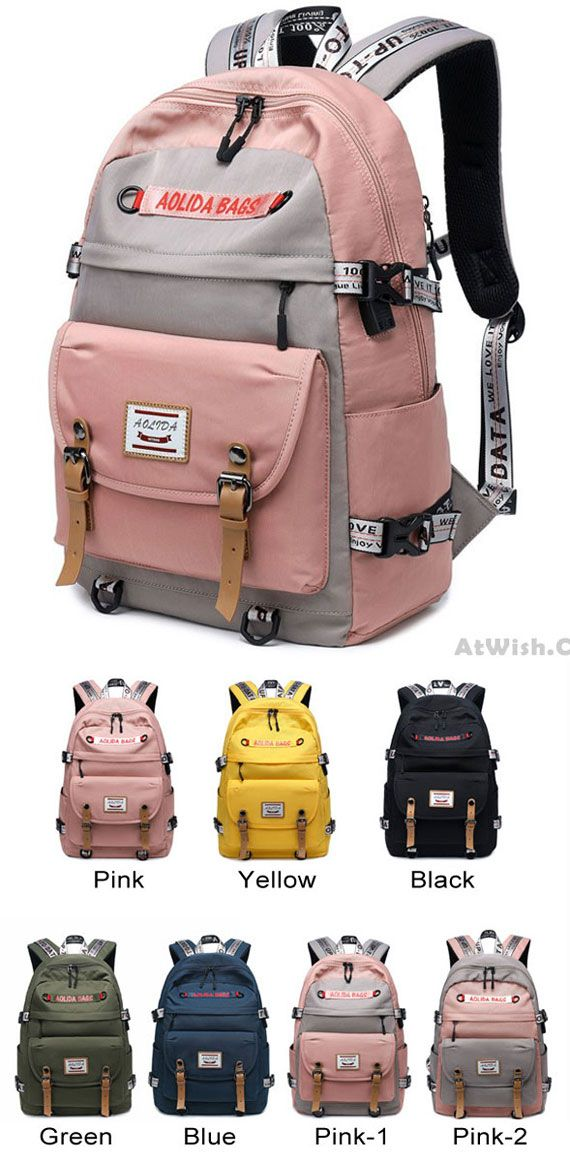 cf667102289e New Student Contrast Stitching Bag USB School Backpack Large ...