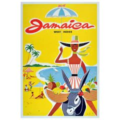 Bright Original Vintage Travel Advertising Poster for Jamaica, West Indies