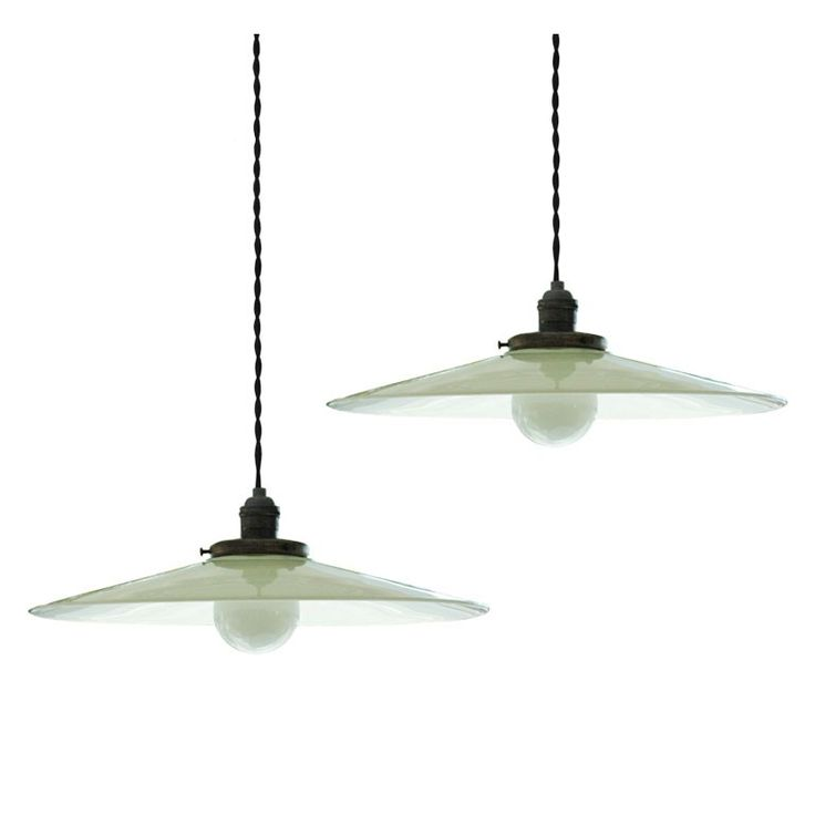 Pair Of Industrial Milk Glass Pendants USA With Metal Fittings And Cloth Twist Cords