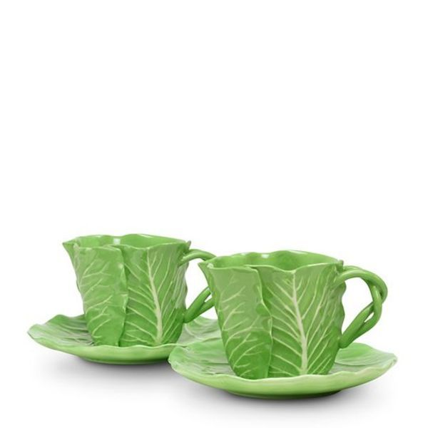 Tory Burch collaborates with Dodie Thayer whose work was beloved by royalty and Kennedys. | Two cups and saucers £110