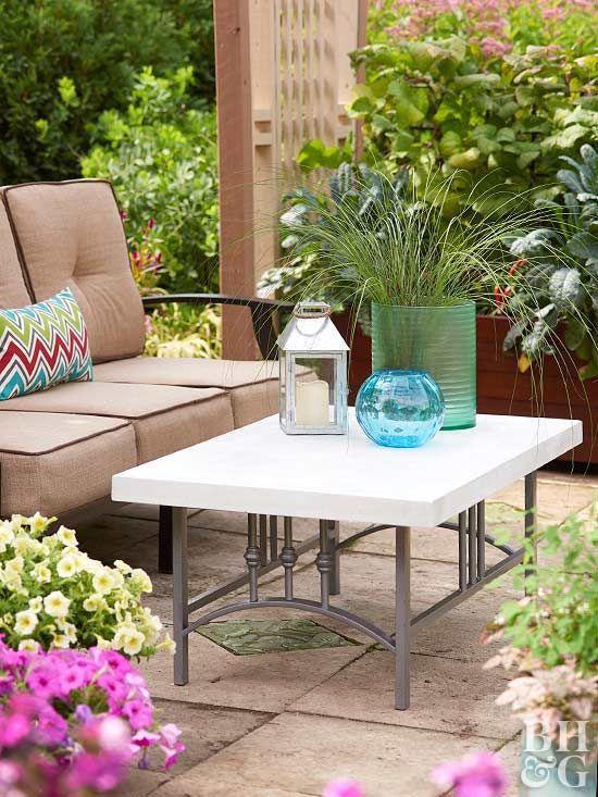 Do you need a low-maintenance, high performance table for your patio? Pair a sturdy metal coffee table frame with an edgy (and heavy!) concrete topper to create an alfresco focal point.