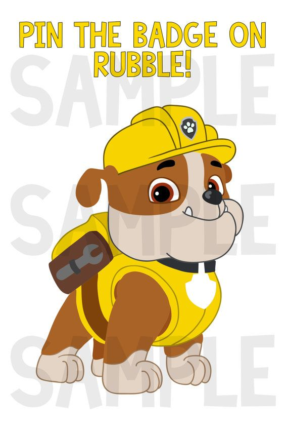 Paw Patrol Party Game! Pin the Badge on Rubble! INSTANT DOWNLOAD! on Etsy, $5.00