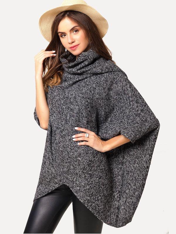 41ad176001ca High Neck Dip Hem Poncho Sweater -SheIn(Sheinside)