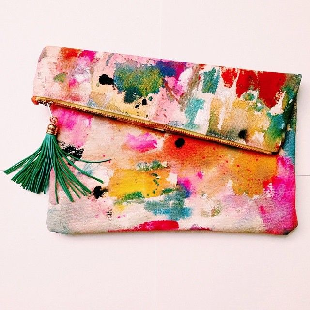 water color fold over flap clutch with contrast tassel -- just that pop of…