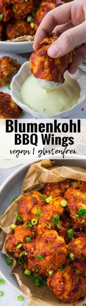 Vegane Chicken Wings aus Blumenkohl. Das perfekte Essen für einen gemütlichen Fernsehabend. Das typisch amerikanische Soul Food in veganer Variante! Vegetarische und vegane Rezepte können so einfach sein!