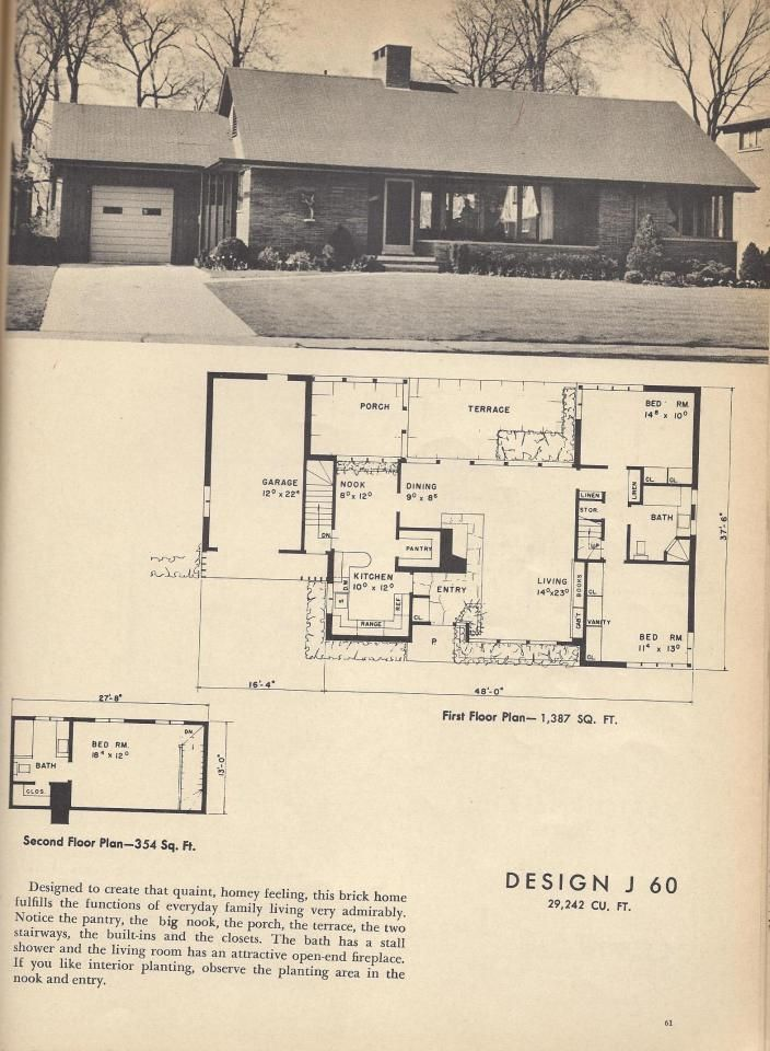 Vintage House Plans, Mid Century House Plans, 1954 Homes Design J 60