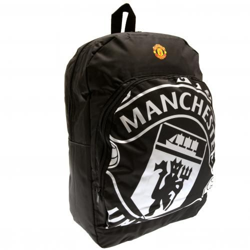 Manchester United school bag with large black and white club crest which is not only functional but fashionable too! FREE DELIVERY on all of our football gifts