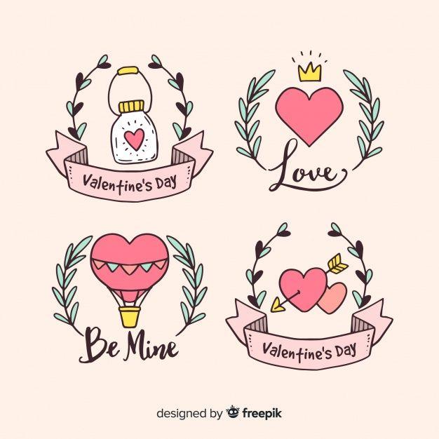 Download Valentine S Day Hand Drawn Badges Collection For Free V 2020 G Albomy Dlya Risovaniya Dizajn Nakleek Milye Podarki Parnyu