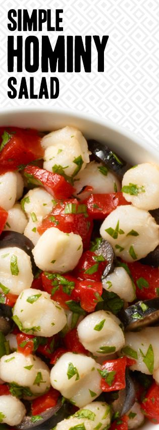 Simple Hominy Salad - Ready in 5 minutes!1 (15 oz) can of Teasdale White Hominy, drained 1/3 cup pitted black olives 2 roasted red peppers, chopped 2 tablespoons lemon juice 1/2 cup cilantro, chopped Salt to taste