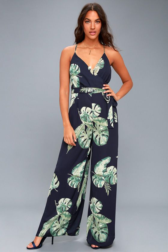 318f68f68a29 Give Me A Tropical Navy Blue Tropical Print Backless Jumpsuit in 2019