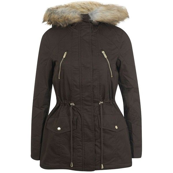 Miss Selfridge Faux Fur-Trimmed Anorak Parka ($135) ❤ liked on Polyvore featuring outerwear, coats, dark green, faux fur parka, fur parka, hooded anorak, faux fur trim parka and fur hooded coat