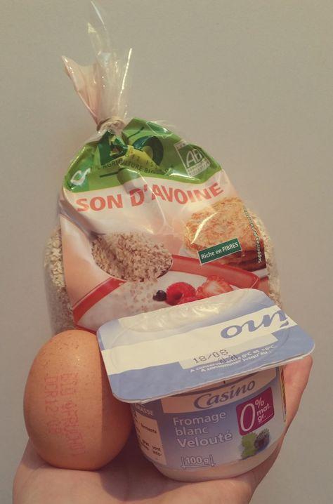 Recette de pancakes au son d'avoine + fromage blanc 0% + oeuf