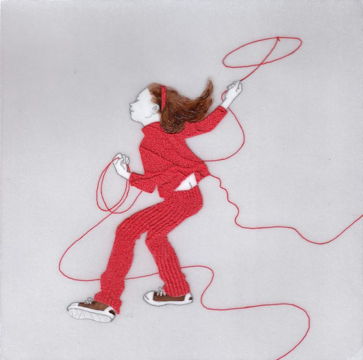『誰かにつながる赤い糸 14』(シリーズ作品) アクリル絵具・トレーシングペーパー 15cm×15cm