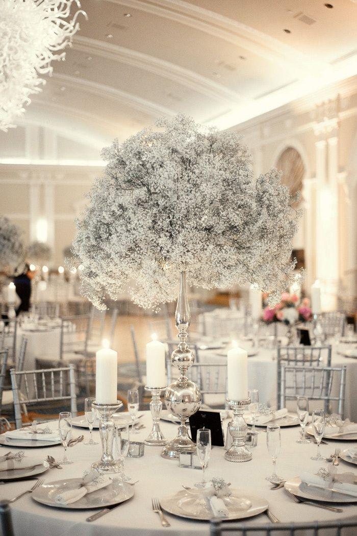 Un centre table blanc pour un mariage en hiver, une table sobre, conviendrait parfaitement dans la Galerie à #Chambiers pour un mariage Vie de Château #TableMariage