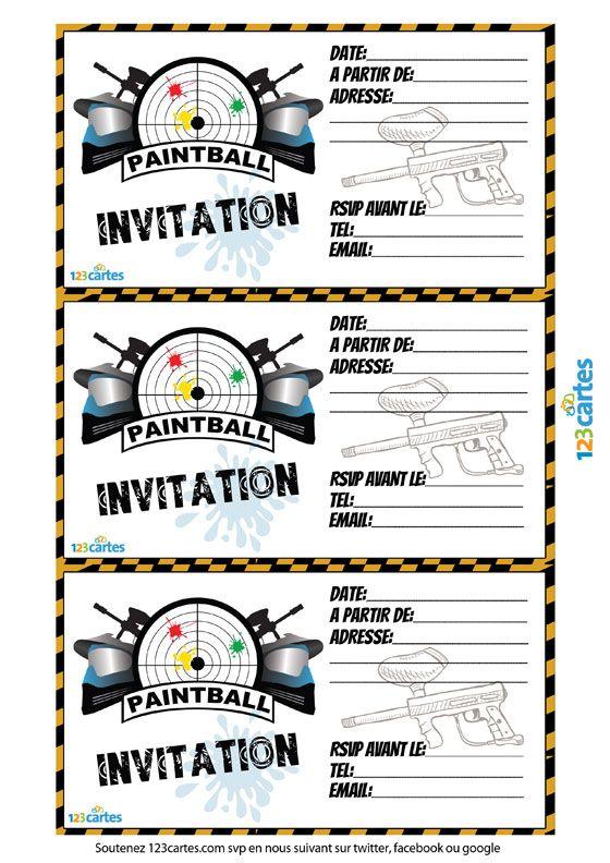 Invitation paintball à imprimer | 123 cartes