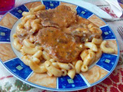 Paprikás krumpli: Tejfölös gombás karajszelet