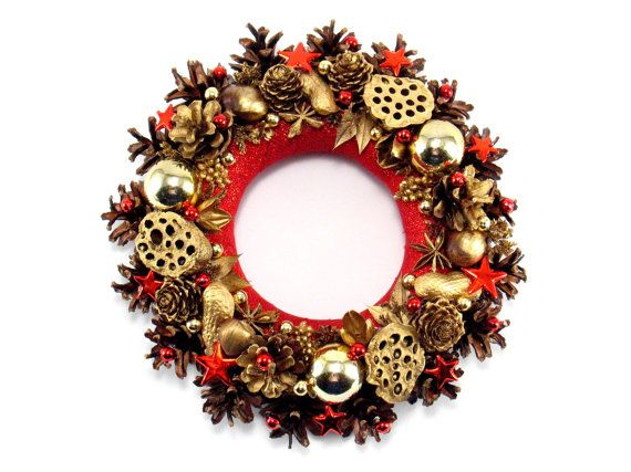 Christmas Wreath, Winter Decorations, Pinecone Wreath, Holiday Wreath,  Table decoration,  Christmas ornament , Hand Made Christmas Wreath,
