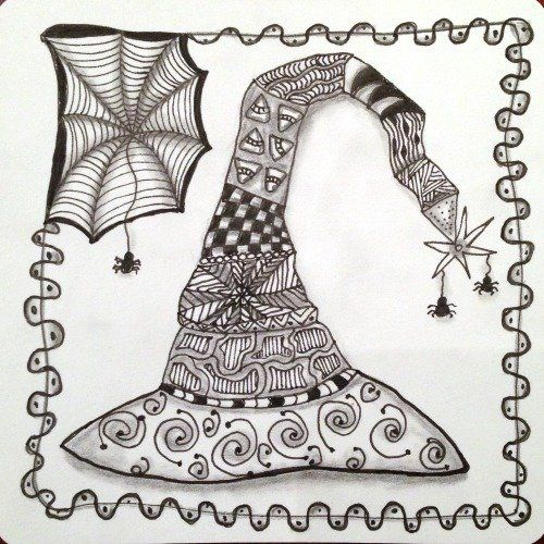 joeys weekly tangle challenge dared us to create a zentangle inspired tangled witchs hat using