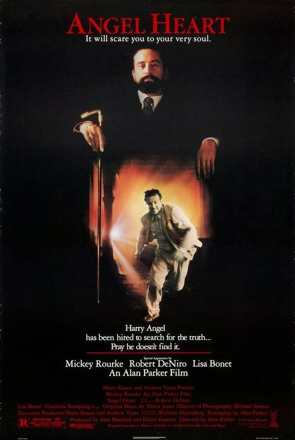 Angel Heart is a 1987 American/British mystery-thriller film written and directed by Alan Parker, and starring Mickey Rourke, Robert De Niro, and Lisa Bonet. Description from avaxsearch.org.