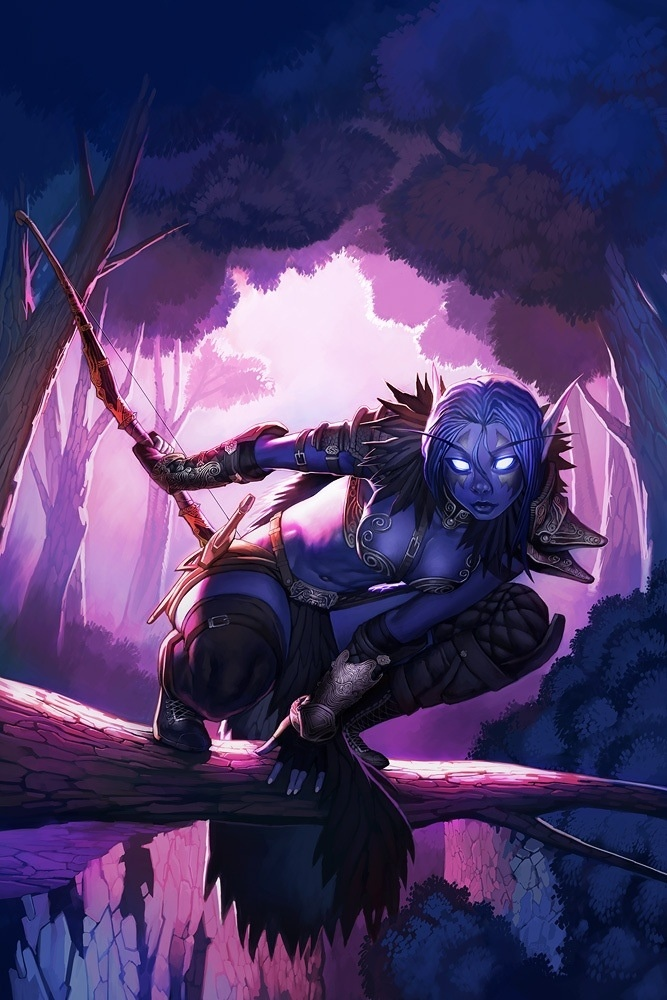 Night Elf Huntress..hmmm the only time my Huntard goes into a tree is when I fly into them.. usually STV God that place is annoying!!