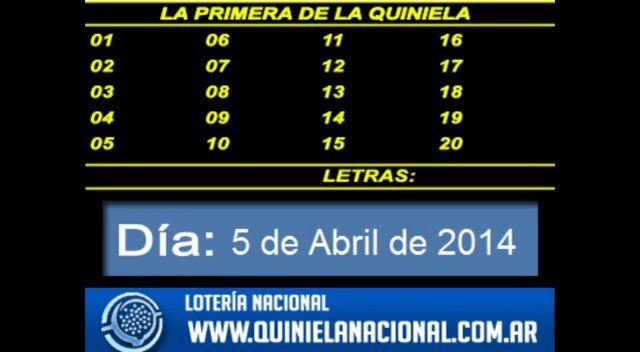 Loteria Nacional - La Quiniela Nacional Primera Sabado 5 de Abril de 2014. Fuente: www.quinielanacional.com.ar