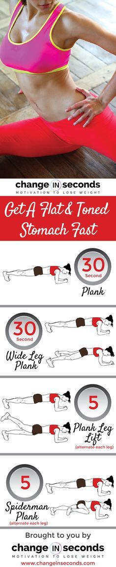 List of exercises for get a flat and toned stomach fast:  30 Second Plank 30 Second Wide Leg Plank 5 Plank Leg Lift (alternate each leg) 5 Spiderman Plank (alternate each leg)  Download Get A Flat And Toned Stomach Fast PDF   To learn how to achieve a lean fit healthy body permanently