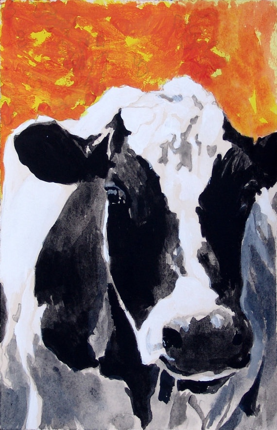 Black and white cow holstein cow print orange red for Acrylic painting on black background